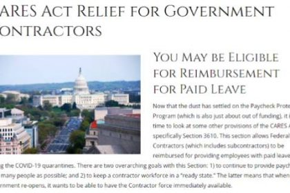 Link to recording for Government Contracts, CARES Act PPP and 3610