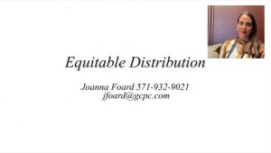 Video explaining what Equitable Distribution means in Virginia Divorce