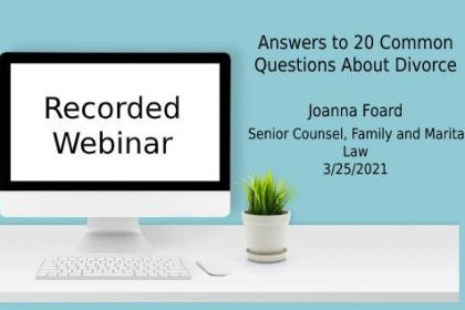 Webinar answering 20 common questions about divorce in Virginia