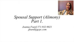 Video 1 on Virginia Alimony and Spousal Support